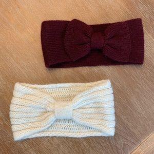 2 Maroon Cream Bow Headwraps Ear Warmers EUC